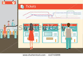 How To Use Ticket Vending Machine In Railway Station Mesmerizing People Buying Ticket Train Train Ticket Stock Vector Royalty Free