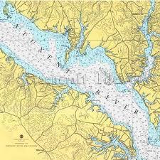 Maryland Patuxent River Nautical Chart Decor