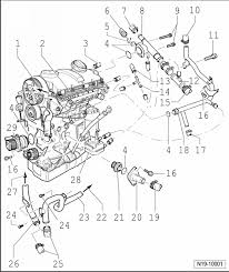 volkswagen workshop manuals > golf mk5 > power unit > 4 cylinder power unit > 4 cylinder diesel engine 2 0 l engine 4 valve > engine cooling > parts of cooling system > assembly overview parts of cooling system