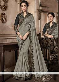 Grey Color Designer Blouse Grey Color Party Wear Saree With Unstitched Blouse