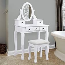 vanity table. Best Choice Products Vanity Table And Stool Set W/Adjustable Oval Mirror, 5 Drawers