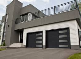 contemporary black garage doors with glass also white wooden wall combine with minmalist house design also modern balcony rails