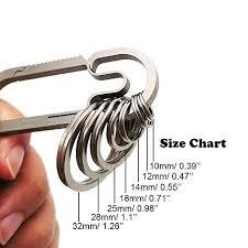 Split Key Ring Size Chart Haxtec Titanium Key Rings Durable Tight Split Rings For