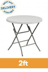 2ft round plastic folding table profile