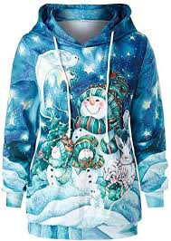Size <b>Christmas</b> Hoodie,Jushye Women <b>Xmas Cartoon Snowman</b> ...