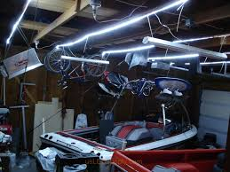 garage where cool white flexible led strips were used to replace old fluorescent fixtures