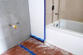 install bathtub plumbing. you can move the tub and lift up subflooring to access joists. install bathtub plumbing
