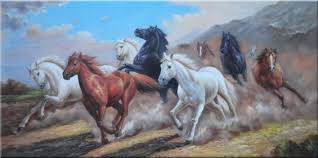 wild horses galloping. Perfect Wild Group Of Energetic Wild Horses Galloping Under Mountain Oil Painting Animal  Naturalism 30 X 60 Inches With N