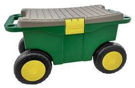 garden scooter seat. Rolling Garden Planter Lawn Tool Storage Scooter Cart With Seat \u0026 Removable Tray