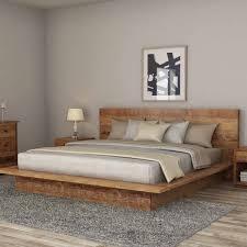 rustic teak wood platform bed frame