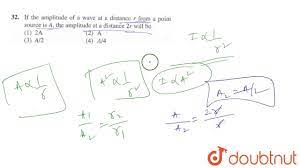 If the amplitude of a wave at a distance r from a point source i