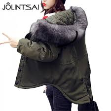 jolintsai women parkas 2017 autumn winter new jacket women big faux fur collar hooded female warm