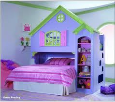 Interactive Lexington Girls Bedroom Furniture : Beautiful Purple House  Theme Girls Bed Frame With MInimalist Shelving