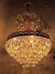 antique vnt french huge basket style crystal chandelier lamp 1940 s 18in width