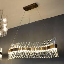 Wave Design Long Crystal Chandelier Led Lamp Ac110v 220v Lustre Cristal Kronleuchter Home Lighting Bar Light