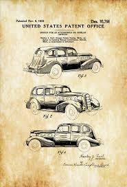 Auto Mobile Office 1934 Lasalle Automobile Patent Patent Print Wall Decor Automobile Decor Automobile Art Classic Car Lasalle Patent Gm Patent