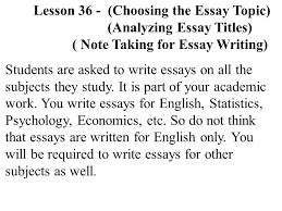 eng lesson ppt video online  lesson 36 choosing the essay topic