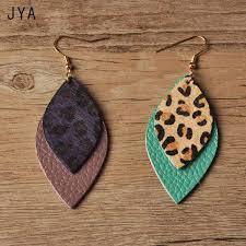 jya leopard leather earrings for women real feather waterdrop big long earring hanging fashion leaf dangle ear drops autumn 2018 malaysia