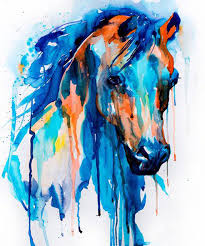 artist hand painted modern artwork bright color horse head oil painting on canvas for wall