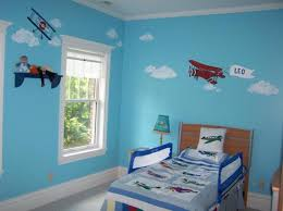 Nice Bright Blue Airplane Themed Bedroom