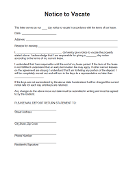 Notice To Vacate Letter Notice To Vacate Form Free Form For A Residential Landlord Notice