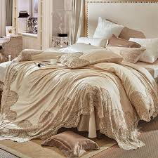 champagne color french style luxury lace embroidery 100s egyptian cotton bedding set duvet cover bed linen bed sheet pillowcases duvet sheets duvet