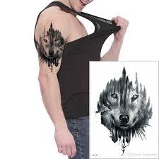 животное волк дизайн временные татуировки наклейки боди арт рука нога назад