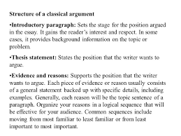 writing to argue or persuade ppt video online structure of a classical argument