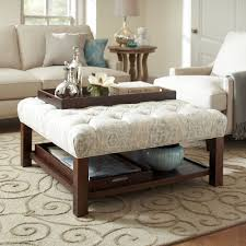 Classic Brown Stained Oak Wood Based Ottoman Coffee Table With Accent Linen  Upholstered To Added Brown