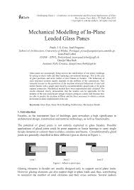 pdf mechanical modelling of in plane loaded glass panes