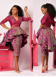 Lace African Dresses Design 2018 Lace Mixed With Chitenge Peplum Dress Kanyget Fashions