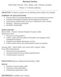 office clerk resume hospital admitting clerk resume the resume template site