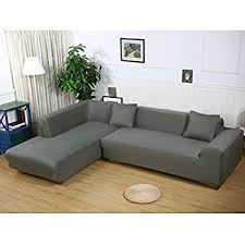 sectional covers. premium quality sofa covers for l shape, 2pcs polyester fabric stretch slipcovers + pillow sectional n
