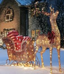 outdoor reindeer and sleigh large lights uk for