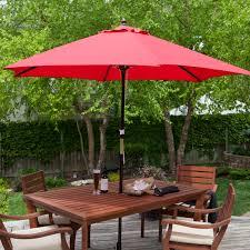 Spun-Poly Wood Market Umbrella | Hayneedle