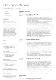 Engineering Manager Resume Samples Templates Visualcv