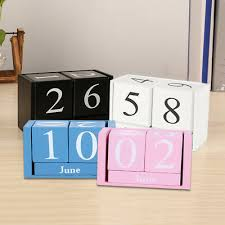 vintage wooden perpetual calendar block planner permanent diy agenda home decor