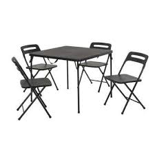 5 piece black outdoor safe fold in half folding card table set