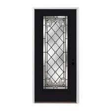 pella full lite left hand inswing prefinished black exterior white interior painted fibergl entry door