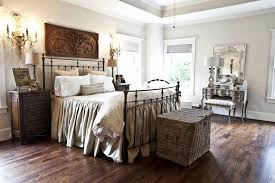 Floral Pattern Fabric Upholstery Headboard French Country Bedrooms Sleek  White Transparent Bedroom Window Treatment Painted Brick Accent Walls Chest  Of ...