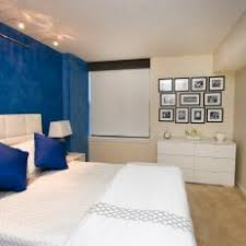 white bedroom with blue accents. Modren Bedroom Contemporary White Bedroom With Cobalt Blue Accent Wall To Accents N