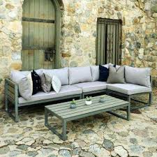 modern aluminum patio furniture. Delighful Patio Boardwalk Grey Metal 4Piece AllWeather Outdoor Conversation Set With  Cushions And For Modern Aluminum Patio Furniture D