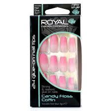 Royal Umělé Nehty Matné Růžové Nalepovací S Lepidlem Candy Floss Coffin 24 Glue On False Nails Tips 24ks S Lepidlem 3g