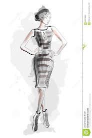 девушка эскиза в платье моды также вектор иллюстрации притяжки Corel