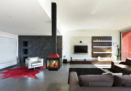 Open Plan Living Room Designs Trendy Open Plan Living Room With Sleek Black And Red Central