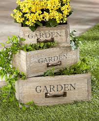 outdoor garden decor. vintage wooden drawer garden planters outdoor decor