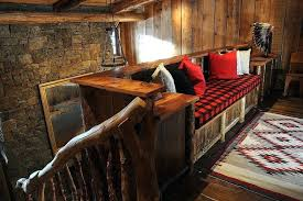 ski lodge area rugs rustic cabin hall with wood flooring buffalo plaid paneling built in bench lodge themed area rugs