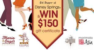 win 150 to walt disney world disney springs restaurants for dapper day