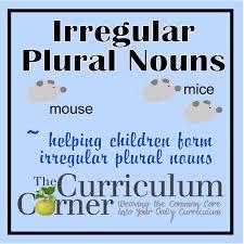 Irregular Plural Nouns The Curriculum Corner 123