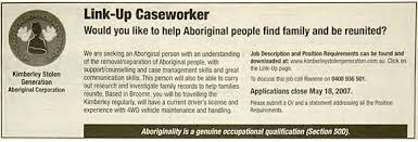 a guide to s stolen generations creative spirits advertisement for a link up caseworker